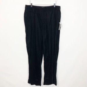 Eloquii Black Velvet Wide Leg Trousera 16 NWT